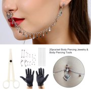 HERCHR 20pcs Set Tongue Nose Belly Button Body Jewelry Piercing Rings Clamp Gloves Needles Tool