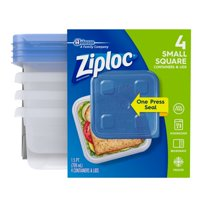 (2 Pack) Ziploc Container with One Press Seal, Small Square, 4 count