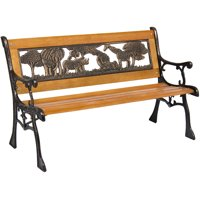 Best Choice Products Kids Mini Sized Outdoor Park Bench Decoration Accent for Patio, Porch, Yard w/ Safari Animal Accents - Brown