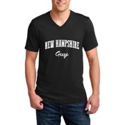 J_H_I NH Guy Flag Manchaster Concord Map Wildcats Home University of New Hampshire Men V-Neck Shirts Ringspun