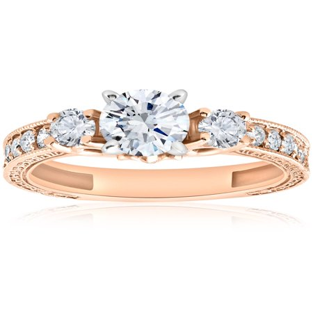 Antique Gemstone Engagement Rings - 1 ct Vintage Real Diamond 3 Stone Engagement Ring 14K Rose Gold Antique Round Cut