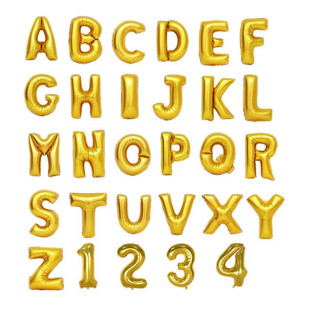 Gold Helium Foil Balloons Letters and Numbers - Letter U - 16 Inches - Gold Letter Ballons