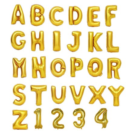 Gold Helium Foil Balloons Letters and Numbers - Letter U - 16 Inches