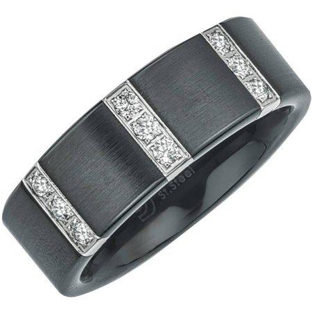 Black Hills Diamond Bands - Men's 0.25 Carat T.W. Diamond Satin Black Ceramic Wedding Band (H-I I3)