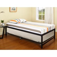 """Archer 39"""" Twin Size Black Metal Day Bed Frame With Roll-Out Trundle (Twin Daybed & Trundle)"""