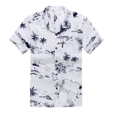 Hawaiian Shirt Aloha Shirt in White Map - Kids Hawaiian Shirts