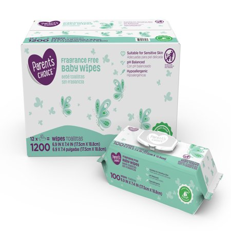 Parent's Choice Fragrance Free Baby Wipes, 12 packs of 100 (1200 count) Dots Baby Wipe Case
