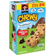 Quaker Chewy Granola Bars, Chocolate Chip, 0.84 oz Bars, 24 Count