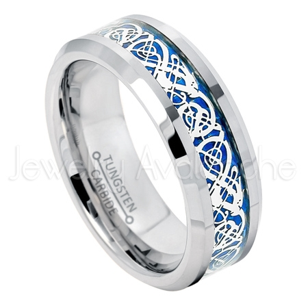 2-tone Tungsten Ring - 8mm Matte and Polished Comfort Fit Beveled Edge Tungsten Carbide Ring with Celtic Dragon Inlay - Dragon Ring Jewelry