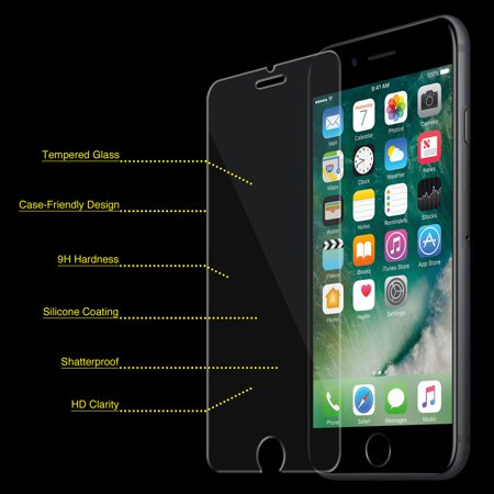 iPhone 7 Tempered GLASS Screen Protector Bubble Free Scratch Resistant Case Friendly Ultra Thin HD Clear ()