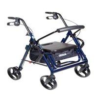 Drive Medical Duet Dual Function Transport Wheelchair Rollator Rolling Walker, Blue