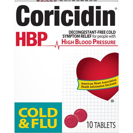 Coricidin HBP, Cold & Flu Relief Tablets, High Blood Pressure, 10 (Cold & Flu Moisturizer)