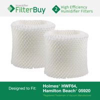 "2 - HWF64 Holmes, Sunbeam & Bionaire Humidifier Wick Filters. Fit units requiring filter ""B"". Designed by FilterBuy in the USA."