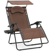 Best Choice Products Oversized Zero Gravity Reclining Lounge Patio Chairs w/ Folding Canopy Shade and Cup Holder (Gray)