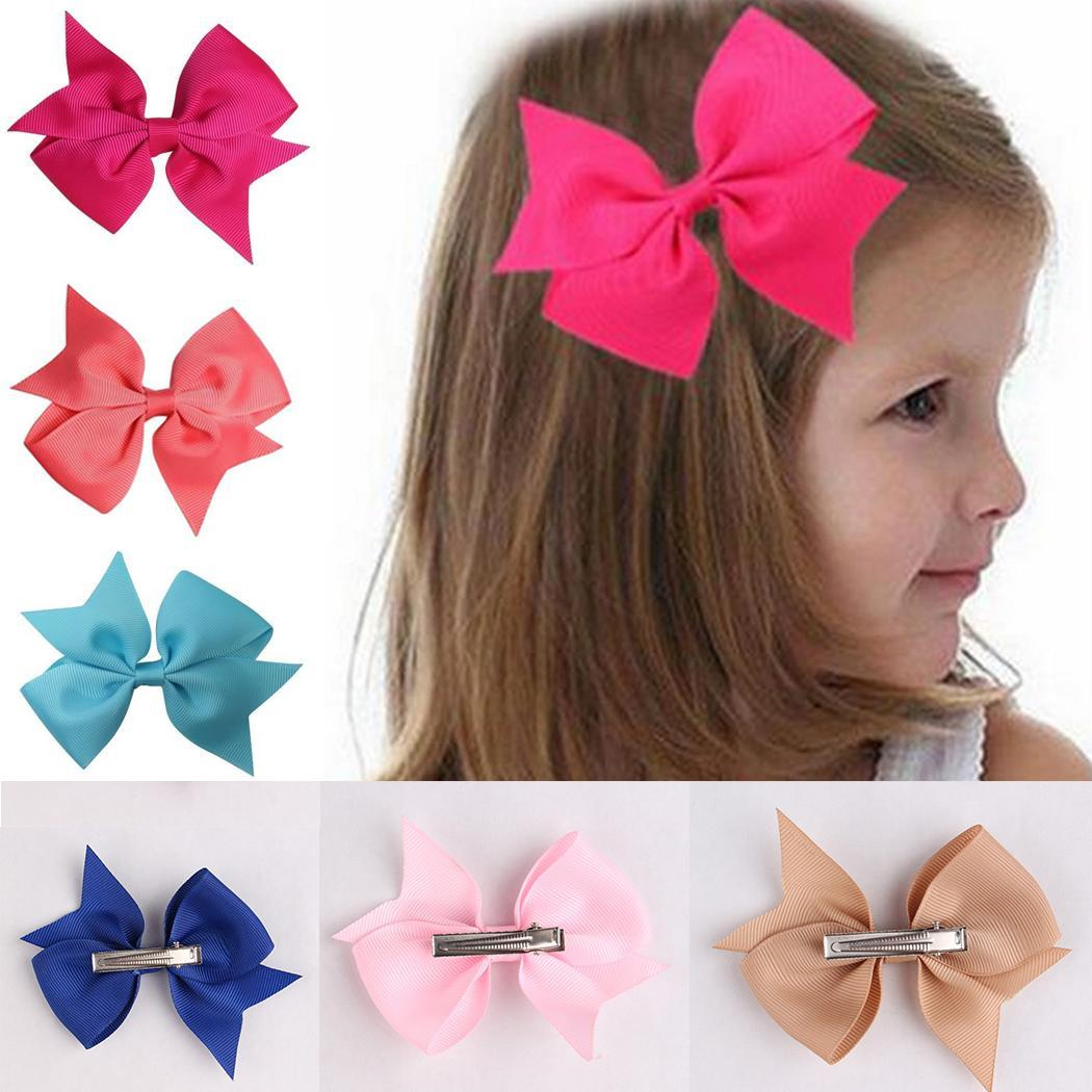 Girls Pink Hearts Double Hair Bow Bobbles Sold In Pairs Handmade Pin Wheel