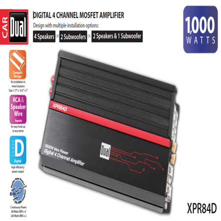 Dual Electronics XPR84D 2/1 High Performance Power MOSFET Class D Car Amplifier with 1,000-Watts of Dynamic Peak Power