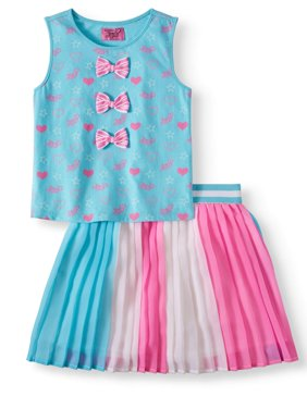 Bow Tank and Pleated Skirt, 2-Piece Outfit Set (Little Girls & Big Girls)