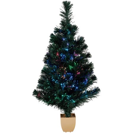 Holiday Time 32-Inch Green Fiber Optic Tree 83 Tips with Continuously  Changing Color - Walmart.com - Holiday Time 32-Inch Green Fiber Optic Tree 83 Tips With Continuously  Changing Color