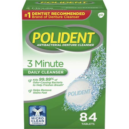 Polident Denture - (2 pack) Polident 3 Minute Triple Mint Antibacterial Denture Cleanser Effervescent Tablets, 84 count