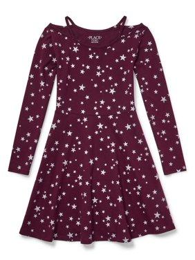The Children's Place Star Cluster Cutout Long Sleeve Knit Dress (Little Girls & Big Girls)