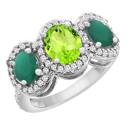 10K White Gold Natural Peridot & Cabochon Emerald 3-Stone Ring Oval Diamond Accent, size 8.5