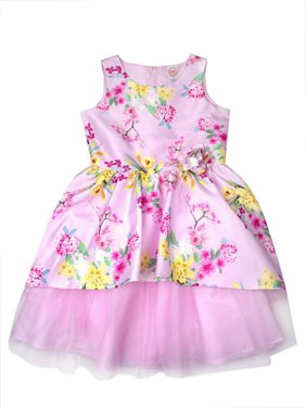 Floral Shantung and Tulle Easter Dress (Little Girls, Big Girls & Big Girls Plus)