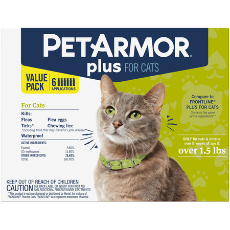 PetArmor Plus Flea & Tick Prevention for Cats (Over 1.5 lbs), 6
