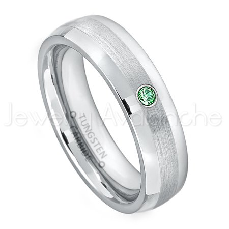 - 6mm Comfort Fit Dome Tungsten Ring - 0.07ct Solitaire Emerald Ring - Personalized Tungsten Wedding Ring - Custom Made May Birthstone Ring TN006BS