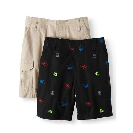 365 Kids from Garanimals Woven Shorts - Cargo, Stripes, Prints, and Plaid, 2-Piece Multi-Pack Set (Little Boys & Big Boys) ()