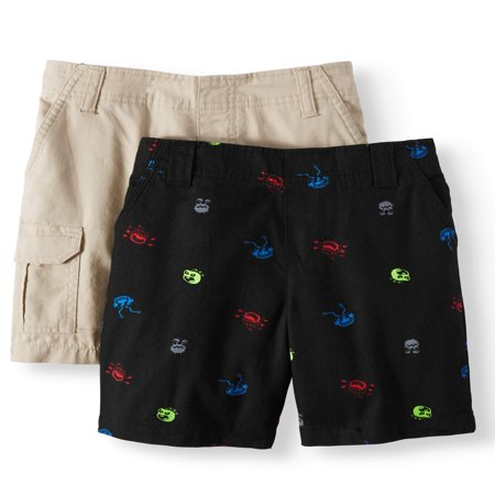 365 Kids from Garanimals Woven Shorts - Cargo, Stripes, Prints, and Plaid, 2-Piece Multi-Pack Set (Little Boys & Big (Mlb Kids Shorts)