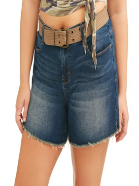 Women's Plus Belted Raw Fray Hem Boyfriend Denim Shorts