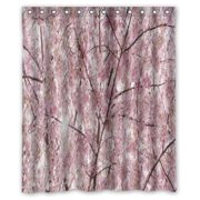 GreenDecor Cherry Blossom Tree Japan Cherry Blossom Waterproof Shower Curtain Set with Hooks Bathroom Accessories Size