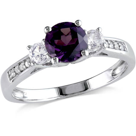 1-1/3 Carat T.G.W. Created Alexandrite, Created White Sapphire and Diamond-Accent 10kt White Gold Three Stone Ring (Mother Of Pearl Sapphire Ring)