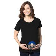 a4278c07a6cbf Maternity Peeking Football Player Baby Funny Pregnancy Gift T shirt