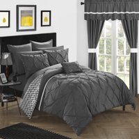 Chic Home 20-Piece Potterville Complete Bed room in a bag super set. Pinch pleated design REVERSIBLE Chevron pattern Comforter Set, Sheets Set, window treatments and decorative pillows. King Black