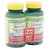 Spring Valley Turmeric Curcumin Vegetarian Capsules Twin Pack, 500 mg, 180 count