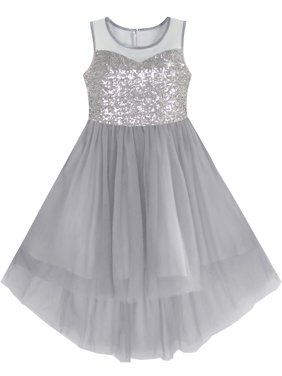 Girls Dress Gray Sequined Tulle Hi-lo Wedding Party Dress 10