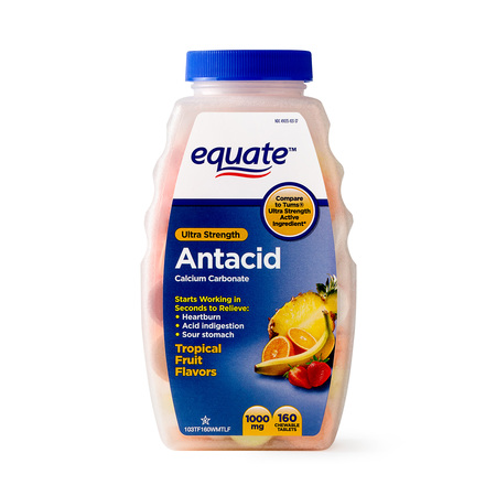 Equate Ultra Strength Antacid Tropical Fruit Chewable Tablets, 1000 mg, 160 (Formula Chewable Tablets)