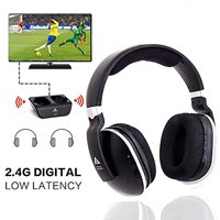 Wireless TV Headphones Over Ear Headsets Digital Stereo Headsets with 2.4GHz RF Transmitter,Comfortable To Wear ,100ft Wireless Range-Black