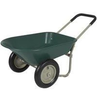 Best Choice Products Dual-Wheel Home Utility Yard Wheelbarrow Garden Cart w/ Built-in Stand for Lawn, Gardening, Grass, Soil, Bricks, Construction - Green