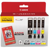 """Canon PGI-250 & CLI-251 4-Cartridge Combo Pack with Photo Paper (4 x 6"""", 50 Sheets)"""