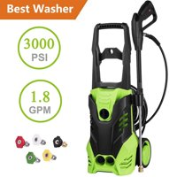 Hifashion 3000 PSI Electric Pressure Washer 1800W Rolling Wheels High Pressure Professional Washer Cleaner Machine with 5 Quick-Connect Spray Tips