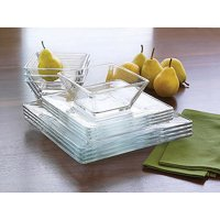 Mainstays 12-Piece Square Clear Glass Dinnerware Set
