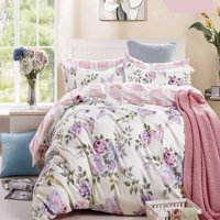 Swanson Beddings Pink-Purple Roses 3-Piece 100% Cotton Bedding Set: Duvet Cover and Two Pillow Shams (Oversized King)