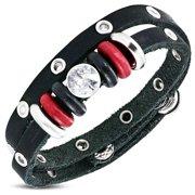 Fashion Double Wrap Rope Bali Bead Black Leather Snap Boho Bohemian Bracelet with Clear CZ