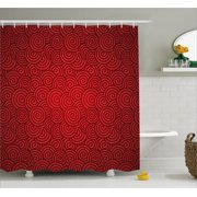 Red Shower Curtain Swirl Lines Spirals Abstract Design With Chinese Culture Influences For New Year