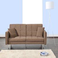 Modern Plush Tufted Velvet Fabric Splitback Living Room Sleeper Futon (Brown)