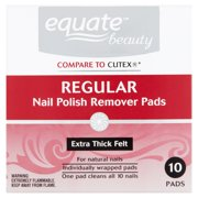 (2 Pack) Equate Nail Polish Remover Pads, 10 Ct