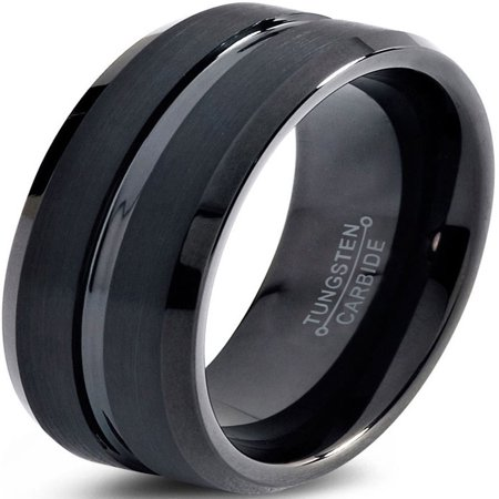 Tungsten Wedding Band Ring 10mm for Men Women Comfort Fit Black Step Beveled Edge Polished Brushed Lifetime Guarantee - Duck Band Wedding Rings