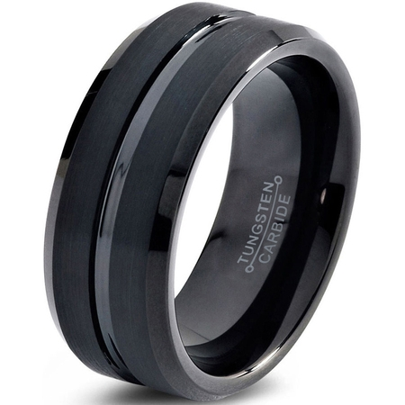 Tungsten Wedding Band Ring 10mm for Men Women Comfort Fit Black Step Beveled Edge Polished Brushed Lifetime Guarantee